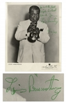 Louis Armstrong Signed 8 x 10 Photo Playing His Trumpet