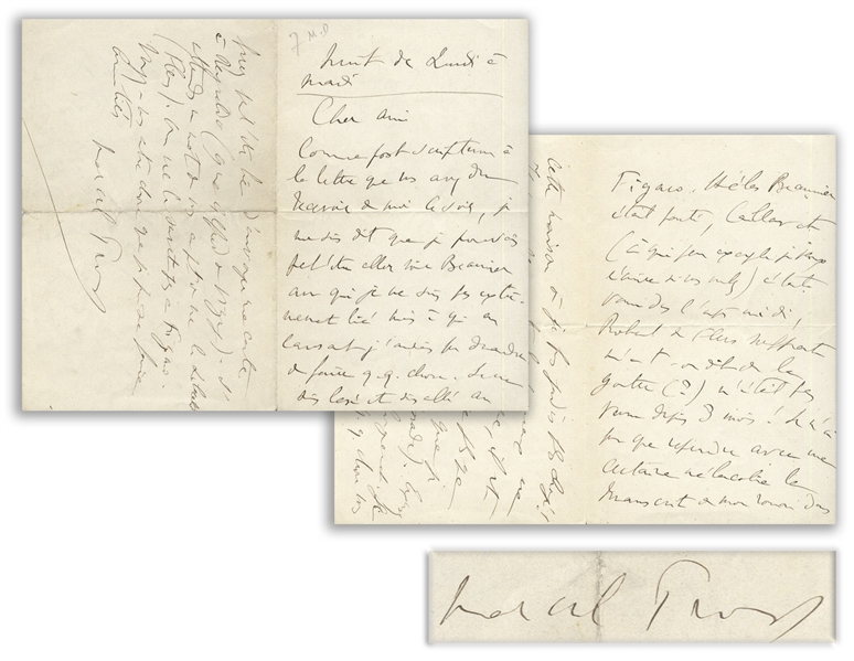 Marcel Proust Autograph Letter Signed -- ''...All I could do was, with a certain melancholy, take my novel's manuscript back from this publisher where I had previously been more pampered...''