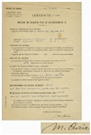 Scarce Marie Curie Signed Document From Her Institut du Radium Laboratory -- Curie Signs Off on an Experiment in Her Lab
