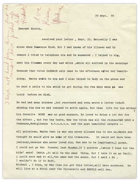 Marlene Dietrich Letter Signed, With Autograph Note, on Her Relationship with Erich Remarque, and ''that bitch [Paulette] Goddard'', Remarque's Widow