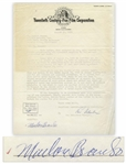 Marlon Brando Signed Agreement with 20th Century Fox From 1956