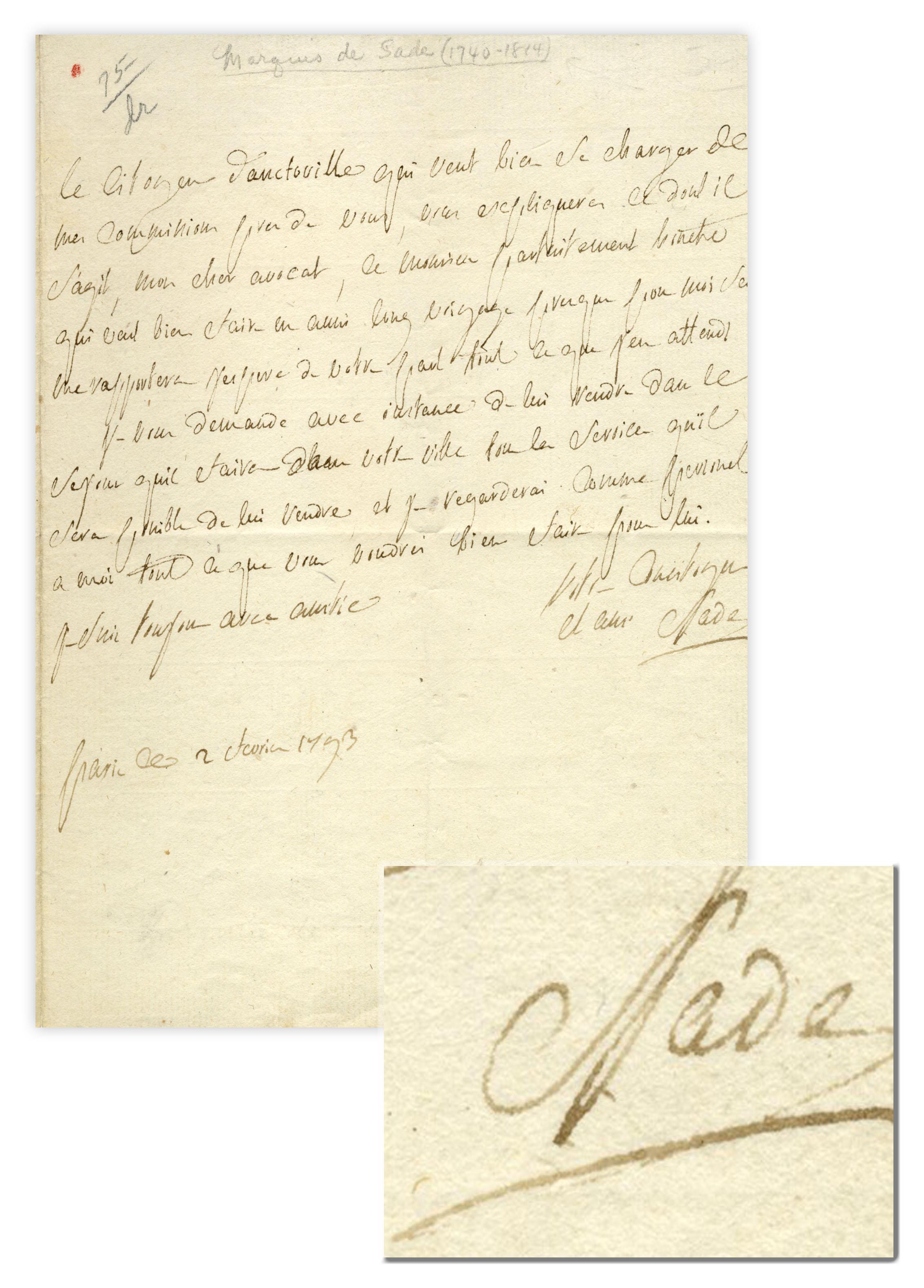 Marquis de Sade autograph
