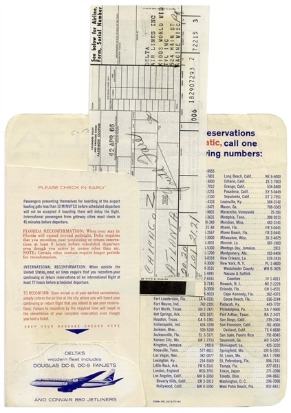 Martin Luther King, Jr. Signed Airplane Boarding Pass -- En Route From Chicago to Atlanta in 1966 During the Chicago Freedom Movement