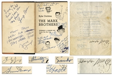The Marx Brothers Signed by All Five Brothers: Groucho, Harpo, Chico, Gummo & Zeppo -- Along With Harpo Marx Letter Signed With Self-Portrait Sketch of Him Playing the Harp