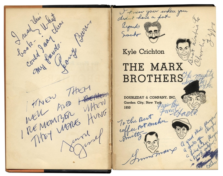 ''The Marx Brothers'' Signed by All Five Brothers: Groucho, Harpo, Chico, Gummo & Zeppo -- Along With Harpo Marx Letter Signed With Self-Portrait Sketch of Him Playing the Harp