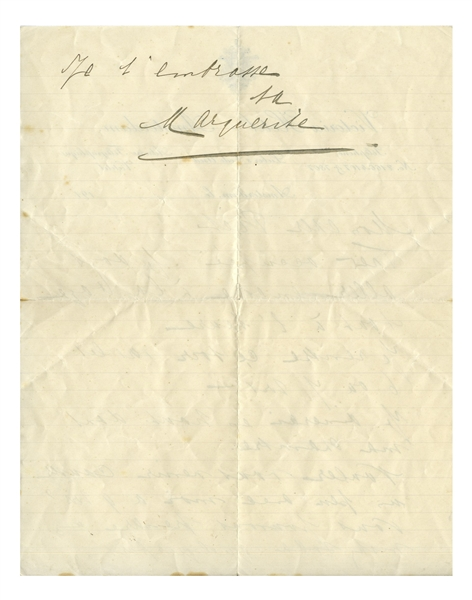 Mata Hari Autograph Letter Signed to Her Lover, Piet van der Hem -- ''...Want to come and talk to me a little at 9 pm?...''