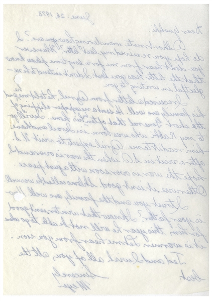 Mobster Meyer Lansky Autograph Letter Signed to Joseph Sheiner of the Israeli Security Agency, From June 1973 -- ''...I hope the war is over soon with a just peace...''