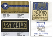 Mickey Rooney Lot of Personally Owned Items From His Acting Career -- Includes Two SAG Membership Cards & an Actors Equity Association Pin