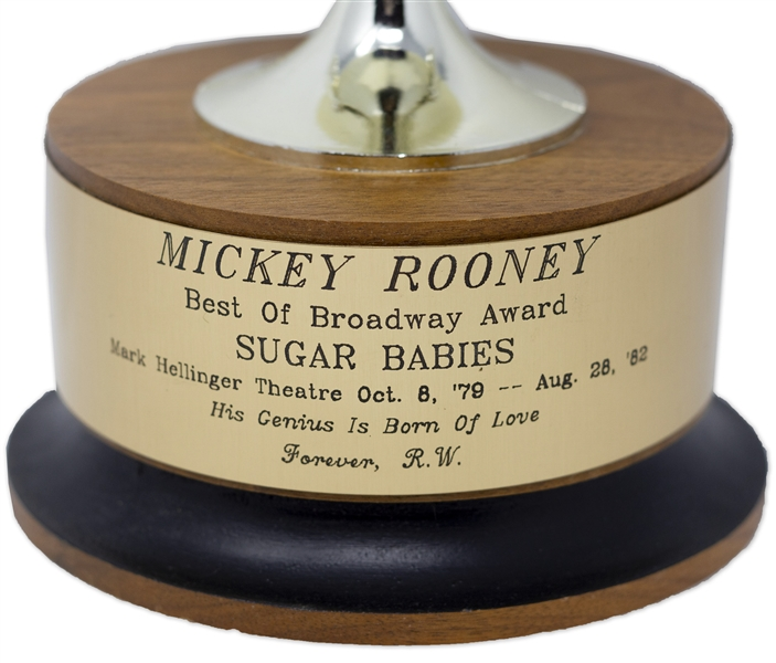 Mickey Rooney ''Best of Broadway Award'' for ''Sugar Babies'' -- Rooney's Broadway Debut That Revitalized His Career -- Directly From the Mickey Rooney Estate