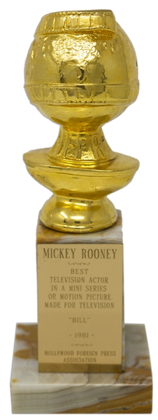 Mickey Rooney's Golden Globe for Best Actor in ''Bill'' -- Directly From the Mickey Rooney Estate