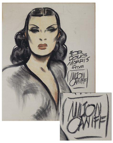 Milton Caniff Charcoal Drawing of the Dragon Lady From ''Terry and the Pirates'' -- Measures 24'' x 30''