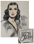 Milton Caniff Charcoal Drawing of the Dragon Lady From Terry and the Pirates -- Measures 24 x 30