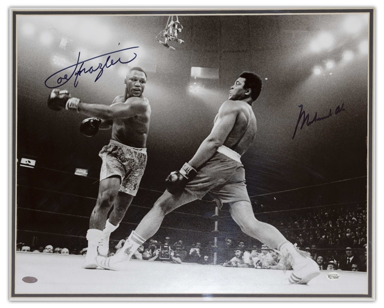Muhammad Ali & Joe Frazier Signed 20'' x 16'' Photo From the Fight of the Century -- With Steiner Certification