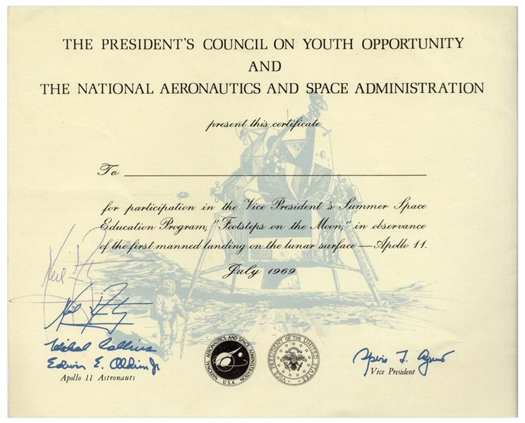 Neil Armstrong Signed Certificate for ''Footsteps on the Moon''