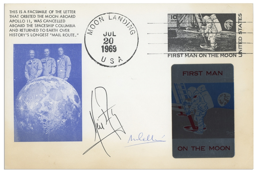 Neil Armstrong & Michael Collins Signed First Day Cover Measuring 9'' x 6''