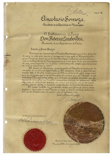 Anastasio Somoza Garcia Document Signed From 1937 as President of Nicaragua