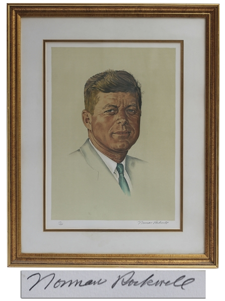 Norman Rockwell Lithograph of President John F. Kennedy -- One of Only 200 Signed and Numbered by Rockwell