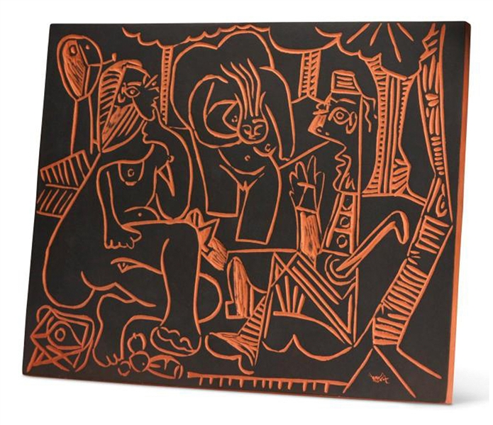 Pablo Picasso ''Le Dejeuner Sur L'herbe'' (''Lunch on the Grass''), No. 517 -- Stunning Plaque Created at Madoura Pottery Studios Measures 24'' x 20'' in Classic Picasso Style -- Picasso's Artist...