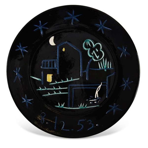 Pablo Picasso ''Paysage'', Number 205 -- Dramatic Ceramic Plate Created at the Madoura Pottery Studios