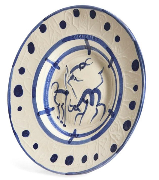 Pablo Picasso ''La Pique'', Number 103 -- Ceramic Plate Created at the Madoura Pottery Studios in Small 150 Edition, Painted by Picasso in His Quintessential Style