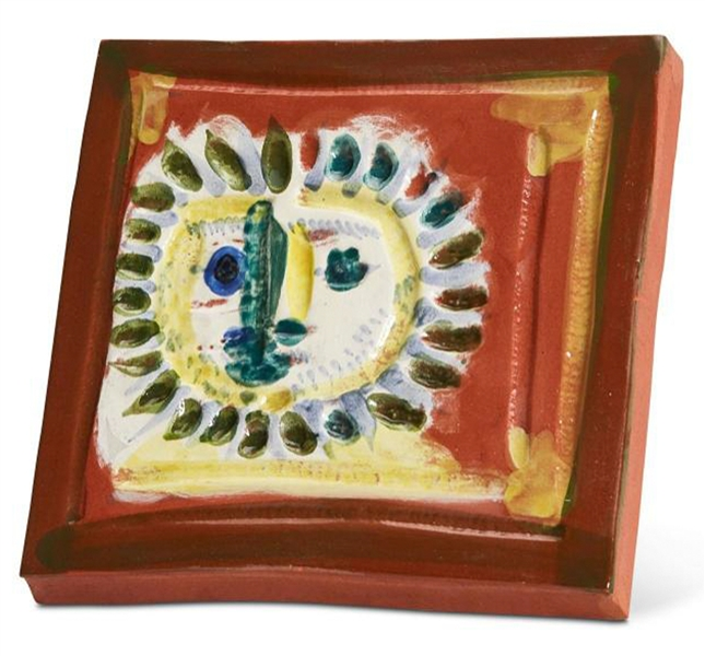 Pablo Picasso ''Petit Visage Solaire'', Number 552 -- Ceramic Plaque Created at the Madoura Pottery Studios