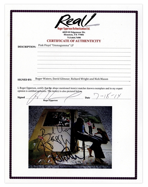 Pink Floyd Signed ''Ummagumma'' Album -- Signed by All Four Members: Roger Waters, Richard Wright, Nick Mason & David Gilmour -- With Roger Epperson COA