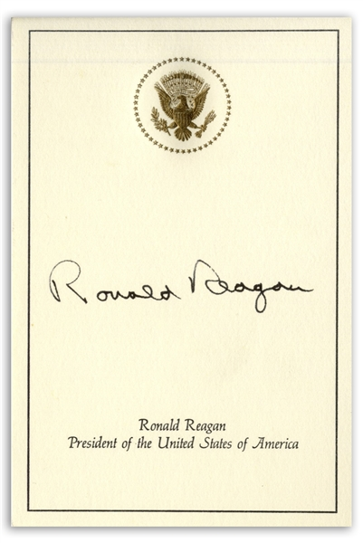 Ronald Reagan Signed Presidential Card, With the Great Seal Embossed -- With JSA COA