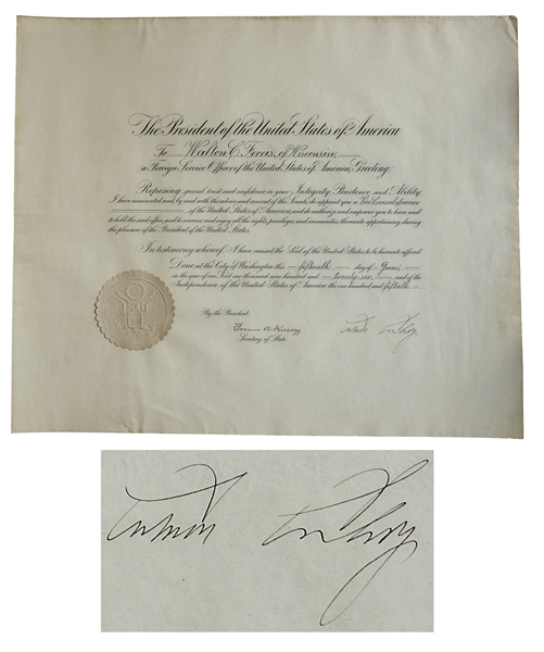 Calvin Coolidge Document Signed as President, Appointing a Foreign Service Officer