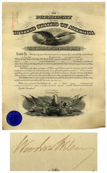 Woodrow Wilson Military Appointment Signed as President, Just Months Before the United States' Entry Into WWI