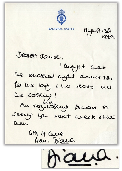 Princess Diana Autograph Letter Signed From 1989 -- ''...for the lady who does all the cooking!...''