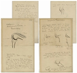 Dr. Richard von Volkmann Handwritten Notes From a Lecture on Orthopedic Medicine -- With 8 Hand-Drawn Sketches Including a Large Sketch of the Femur & Tibia Bones