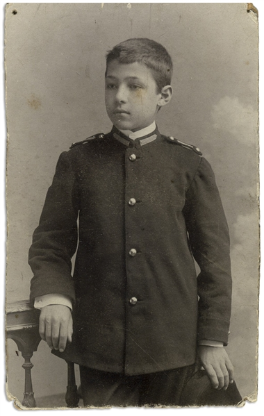 Rudolph Valentino CDV Photo as a Young Boy in His Military School Uniform