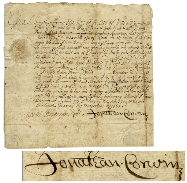 Jonathan Corwin, Judge of the Salem Witch Trials, Document Signed as Salem Judge -- Document Has Association to the Infamous Trials