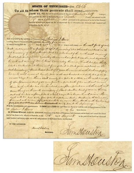 Sam Houston Signed Land Grant as Governor of Tennessee