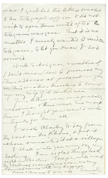 Very Personal Samuel Clemens Autograph Letter Signed, to His Wife Regarding the Near-Death of Their Daughter Jean -- ''...It still makes me shudder...''