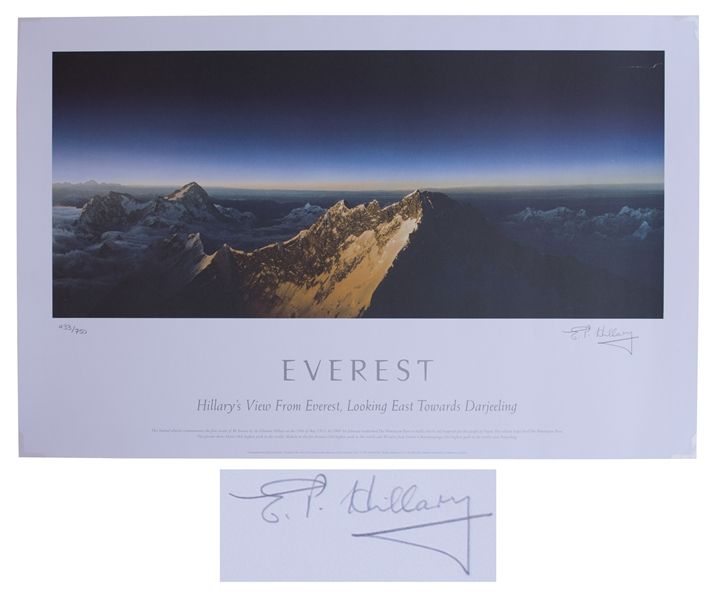 Sir Edmund Hillary Signed Limited Edition Print of ''Hillary's View From Everest'' -- Measures 28'' x 18''