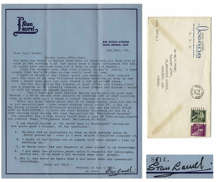 Stan Laurel Letter Signed -- ''...have had no approaches to team up with anybody since Mr. Hardy passed on...I would'nt consider it...''