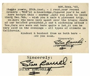 Stan Laurel Typed Postcard Signed Just Days After the Death of JFK -- ...We here too were very upset over the tragic death of our beloved president...