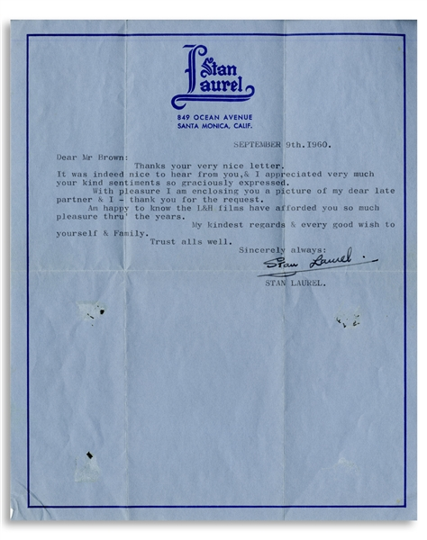 Stan Laurel Letter Signed -- ''...Am happy to know the L&H films have afforded you so much pleasure thru' the years...''