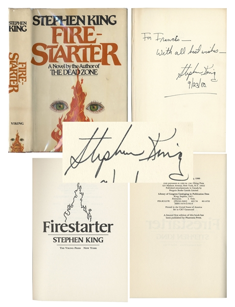 Stephen King Signed First Edition of ''Firestarter'' -- Signed in 1980, a Week Before Its Official Publication