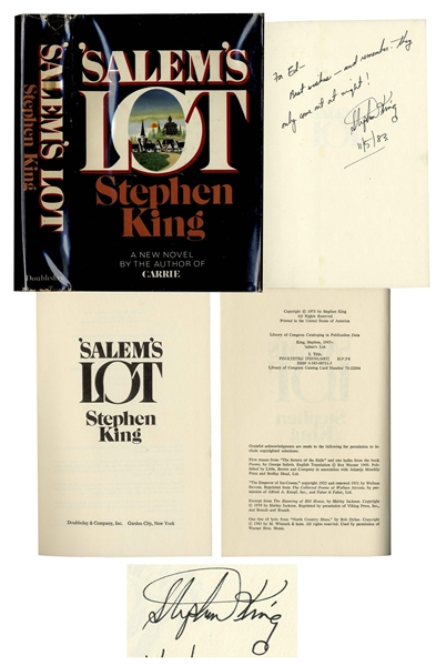 Stephen King Signed Copy of '''Salem's Lot'' -- ''remember: they only come out at night!''