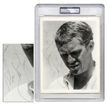 Fantastic Steve McQueen Signed 8 x 10 Photo -- To a Damn good Fireman -- PSA/DNA Encapsulated