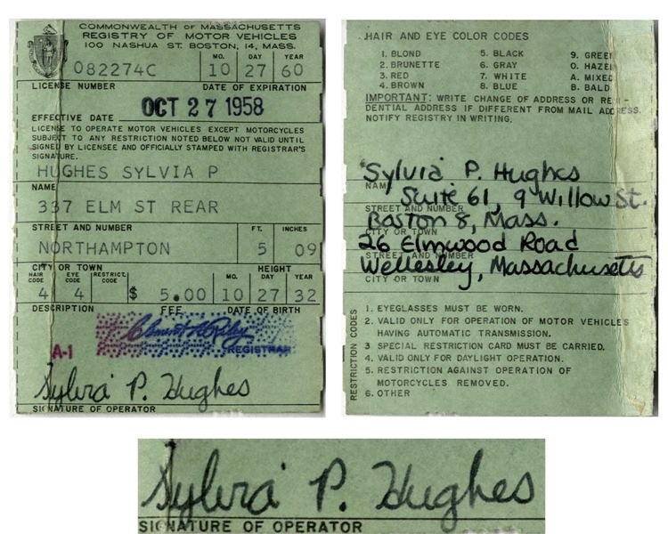 Sylvia Plath Twice-Signed Driver's License From 1958 -- Plath Also Handwrites Her Addresses, Including ''9 Willow St.''