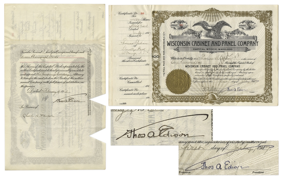 Thomas Edison Twice-Signed Stock Certificate