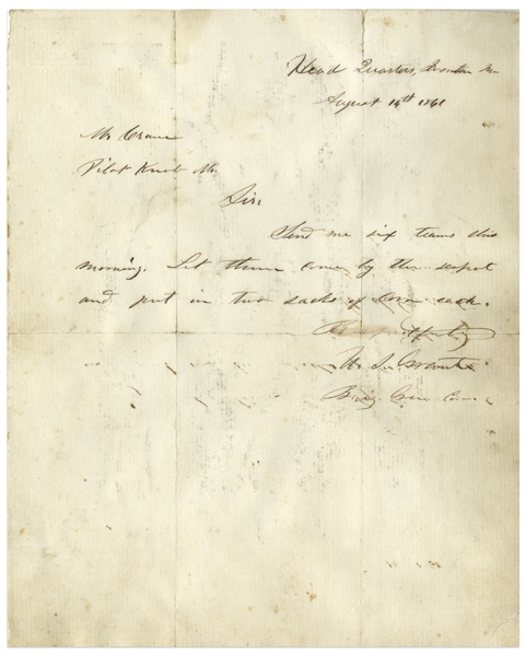 Ulysses S. Grant Civil War Dated Autograph Letter Signed -- From August 1861, a Week After His Promotion From Colonel to Brigadier General