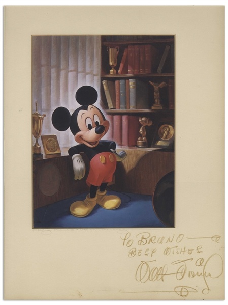 Walt Disney Signed Print of Mickey Mouse for Mickey's 25th Anniversary -- With Phil Sears COA