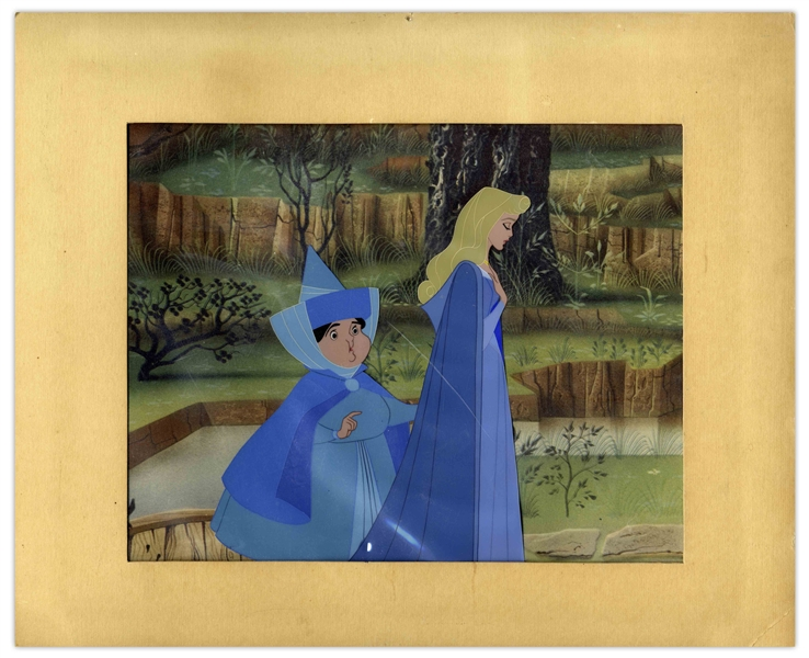 Large Disney Cel From ''Sleeping Beauty'' -- Depicting Princess Aurora With Her Fairy Godmother Merryweather