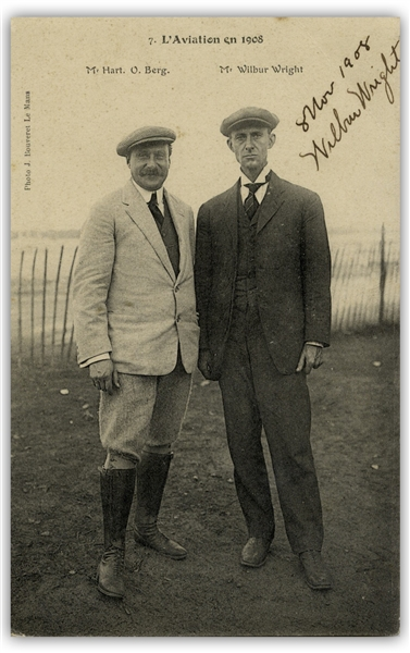 Wilbur Wright Postcard Signed From November 1908 During Their Very Successful Exhibition Flights in Europe -- With University Archives COA