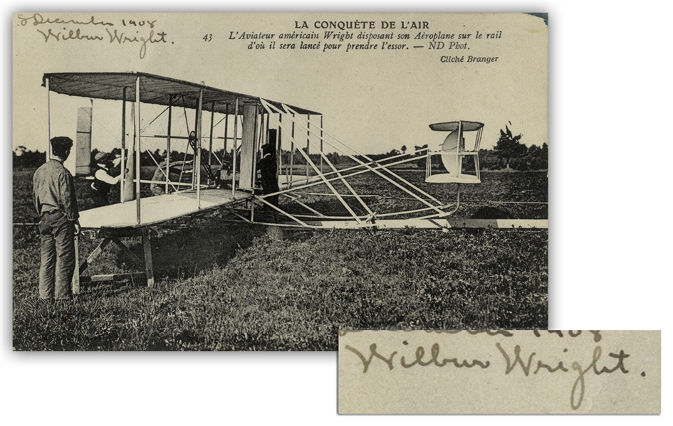 Wilbur Wright Postcard Signed From December 1908 During Their Very Successful Exhibition Flights in Europe -- With University Archives COA