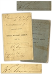 General William T. Sherman Twice-Signed Copy of Military Orders of General William T. Sherman, 1861-65 -- Inscribed to Civil War General Samuel W. Crawford